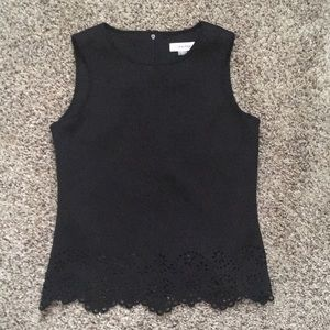 Black Structured Neoprene-like laser cut lace top